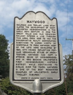 Maywood Trolley sign crop